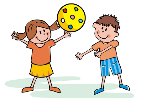 Happy kids with yellow ball, vector illustration