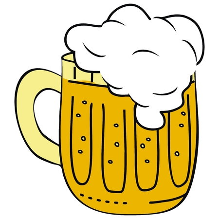 Beer at glassful, alcohol drink, vector icon