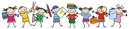Glückliche Kinder und Schulmaterial. Gruppe von Mädchen und Jungen. Vektor-Symbol.