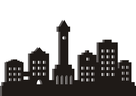 Town, black silhouette, vector icon. A modern city with a church in the center. Simple illustration of the city.
