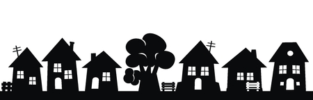 City, group of houses and tree, black vector icon