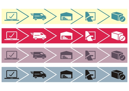 Package tracking online purchase, web vector icons. Four color variations icons.