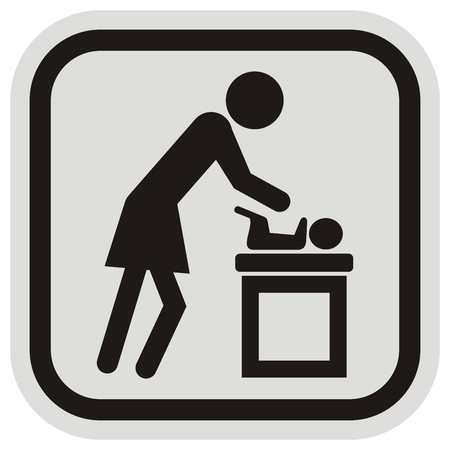Mother repacks Baby, vector icon at gray and black frame, black silhouette. Mom with toddler at room. Brand for room on repacking.