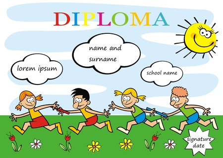 Diploma running kids, funny creative illustration, eps. Two teams of little kids.Commemorative sheet for camp activities. Çizim
