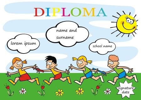 Laufende Kinder des Diploms, lustige kreative Illustration, ENV. Zwei Teams von kleinen Kindern. Gedenkblatt für Lageraktivitäten. Vektorgrafik