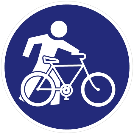 Cyclist, Get Off The Bike, go next to the bike, vector road sign, blue circle frame