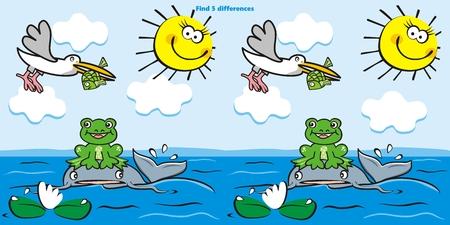 Jeu de société, trouvez cinq différences, groupe d'animaux sur le lac