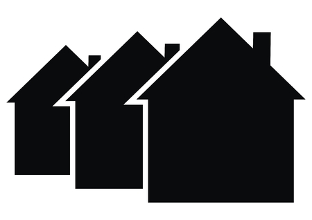 Three black houses, vector icon. Black silhouette of houses with smoke stacks. Business icon for housing construction.