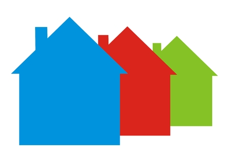 Three different colored houses, vector icon Illustration