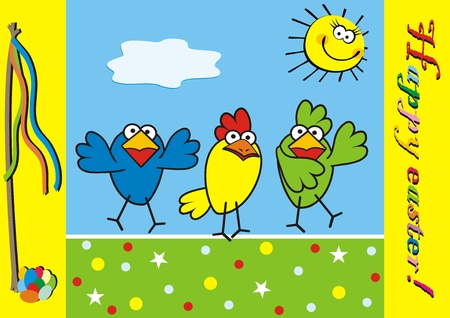 Three birds and yellow sun at background on the sky, happy easter, vector funny icon, postcard. Easter postcard. Yellow frame with inscription and motif motif.