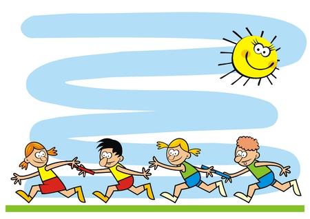 Sjabloon, rennende kinderen, grappige creatieve illustratie, eps. Twee teams van kleine kinderen. Herdenkingsblad voor kampactiviteiten. Vector Illustratie