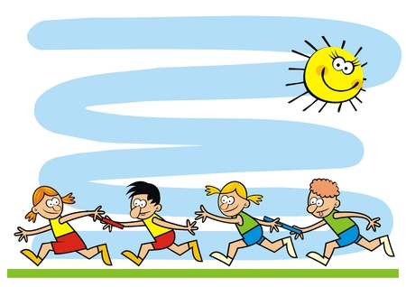 Template, running kids, funny creative illustration, eps. Two teams of little kids.Commemorative sheet for camp activities. 向量圖像
