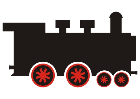Steam locomotive, vector illustration. Single object. Old engine with chimney. Black silhouette of vapor with red wheels.