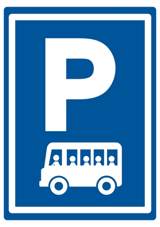 Road sign for bus parking, vector icon. Bue traffic sign with white contour. White silhouette of coach. Vectores