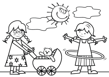 Two girls with pram and hula hoop.