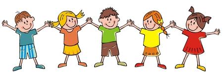 Cinque bambini, illustrazione vettoriale divertente Vettoriali