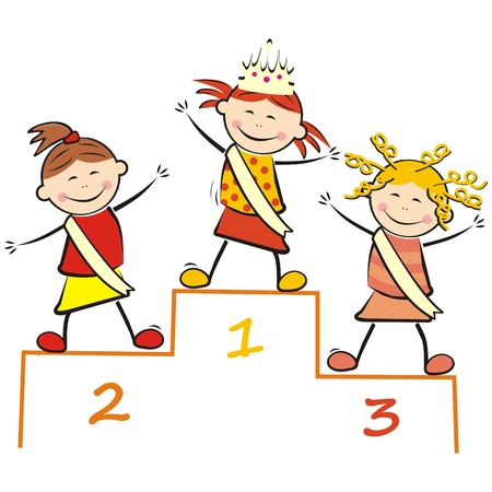 Little Miss Beauty Contest on the podium, funny vector illustration. Three girls with sash. Colored picture on white background. Ilustração