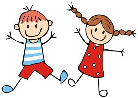 Deux enfants d'âge préscolaire heureux, illustration vectorielle drôle