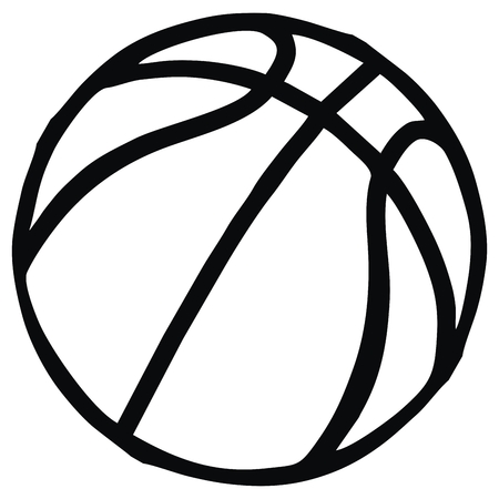Basketball, single object, sports ball, vector icon. Black and white contour drawing. Векторная Иллюстрация