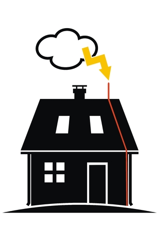 House with lightning rod on the roof. Black silhouette, vector illustration. Cloud with yellow lightning.