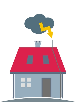 House with lightning rod on the roof. Vector Illustration Keywords: Cloud with yellow lightning.