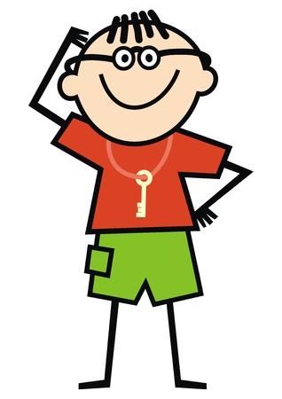 Funny boy, scientist, vector illustration Illustration