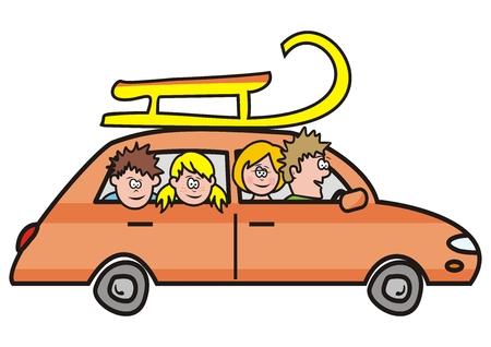 voyage en famille, voiture et traîneau, illustration vectorielle Vecteurs