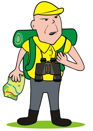 A tourist with binoculars and map. White background. Man with map and bag and telescope. Vector Illustration Keywords: Single object.