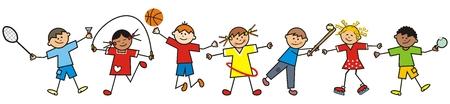 Bambini felici e attrezzature sportive, illustrazione vettoriale divertente funny Vettoriali