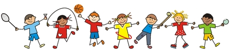 Happy kids and sports equipment, funny vector illustration Vetores