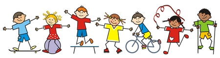 Happy kids and sports equipment, funny vector illustration