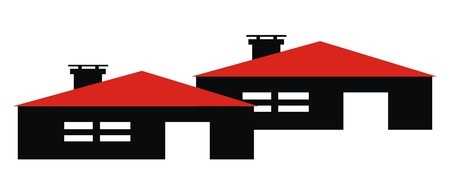 Two houses, terraced construction, vector illustration. Black houses with smoke stacks and red roof.