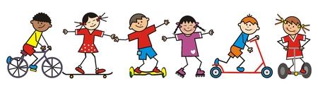 Niños felices, jinetes, ilustración vectorial divertida. Grupo de niños en diferentes medios de transporte. Ilustración de vector