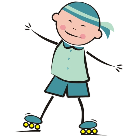 Boy and roller skates, vector illustration.  イラスト・ベクター素材