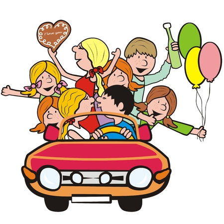 Youth people in the car, vector icon