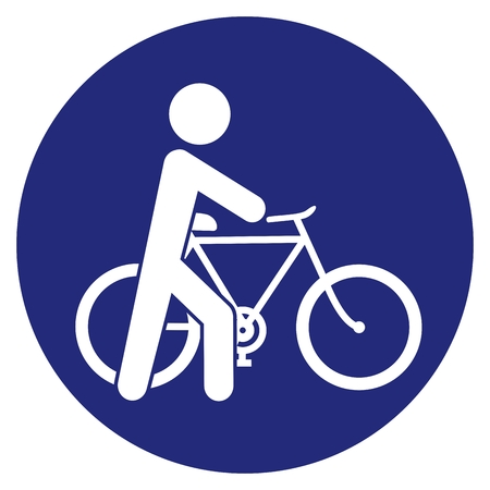 Cyclist, Get Off The Bike, go next to the bike, vector road sign, blue circle frame.