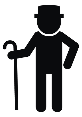 Senior, black silhouette of old man, vector icon. Male with walking stick. Standing man with hat. Illustration
