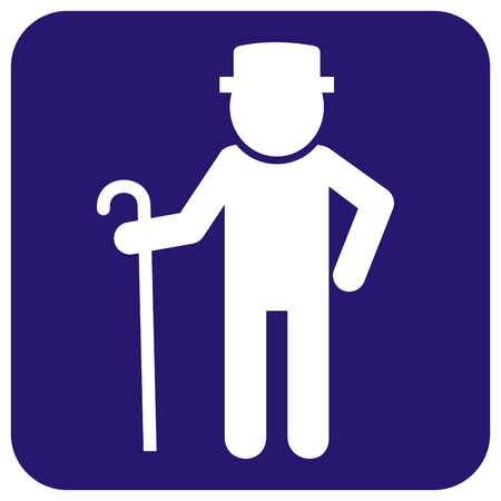 Senior man, white silhouette on blue background. Male with walking stick. Standing man with hat.