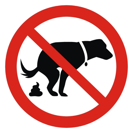 Dog and excrement, no dog pooping sign. Information red circular sign for dog owners. Shitting is not allowed. Vector Illustration Keywords: