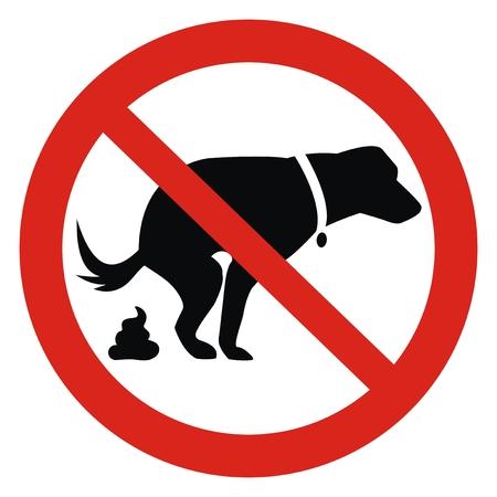 Hund und Exkremente, kein Hundekotzeichen. Rotes Rundschild der Information für Hundebesitzer. Scheißen ist nicht erlaubt. Schlüsselwörter für die Vektorillustration: Vektorgrafik