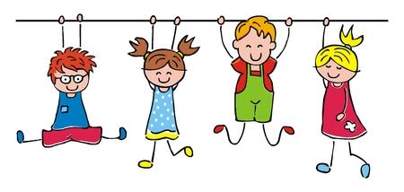Bambini felici, ragazze e ragazzi appesi, illustrazione vettoriale divertente