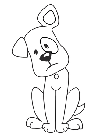 Sad brown dog, vector illustration. Black and white picture of regret puppy. Coloring book for children.