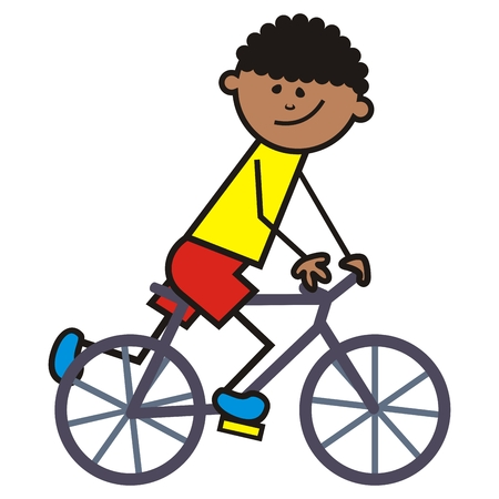 cyclist, boy on bicycle, funny vector icon