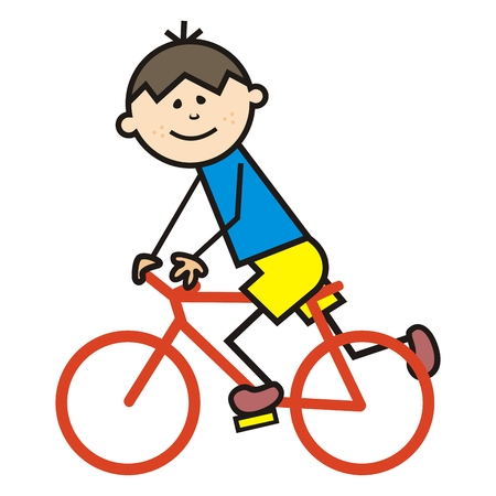 Cyclist, boy on bicycle, funny vector icon. Colored cute illustration.  イラスト・ベクター素材