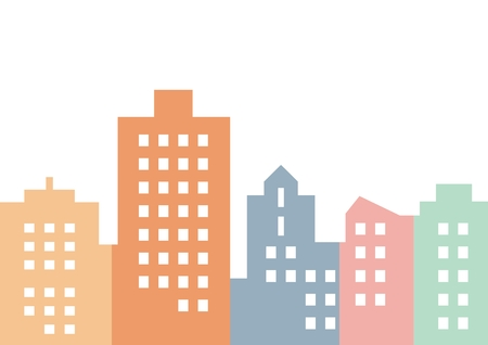 Colored city, silhouette of houses, vector icon