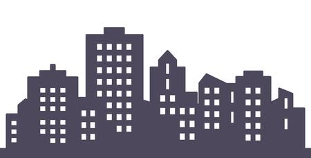 Black silhouette of city, vector icon