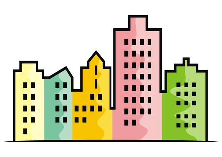 Multicolored town, colored plasters, vector illustration. Silhouette of colorful houses. Colored plasters on facades. | Modern living in the city.