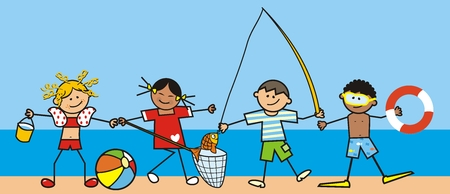 Leisure activities by the water, four happy kids, funny vector illustration