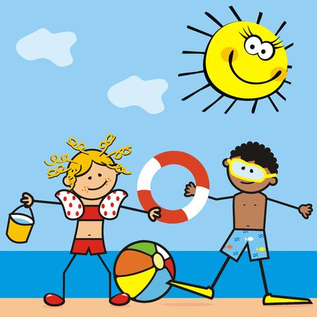 Two smiling kids, girl and boy on the beach. Background with sea and sky with funny sun. Vector Illustration Keywords: Illustration