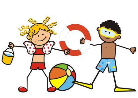 Two smiling kids, girl and boy on the swimming pool. Girl with a bucket, a ball and a diver. Funny vector illustration. Illustration
